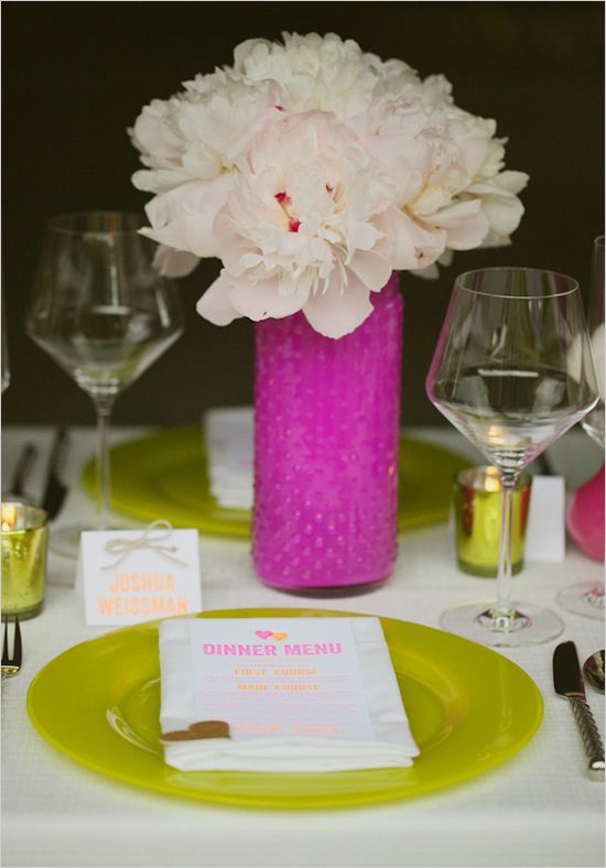 Pleasanton Rentals pretties on Wedding chicks!  Such a cute neon inspired wedding idea!  Hot pink wedding ideas-LOVE!