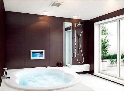 Small Modern Bathroom Design With Luxury Jacuzzi Bath Tub - www.remodelworks.com #jacuzzi #bathroom #modern