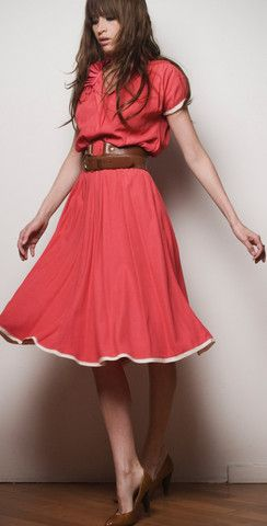 coral dress with wide belt