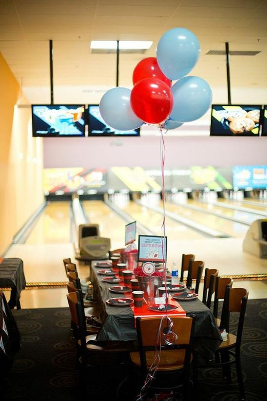 Cute Bowling Themed Birthday Party via Kara's Party Ideas Kara'sPartyIdeas.com #BowlingBall #Strike #Spare #Tween #PartyIdeas #Supplies #bowlingparty #table #decorations