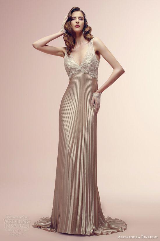 alessandra rinaudo bridal 2014 color wedding dresses rowan sleeveless empire waist pleated skirt copper