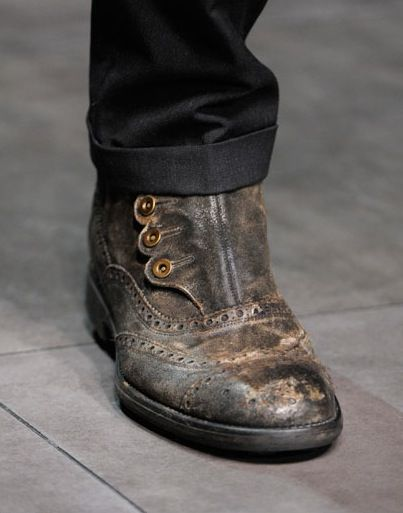 Really interesting take on the Monk Shoe in a Brogue - no lacing, closed by side buttons (as apposed to the conventional buckle) by Dolce & Gabbana - Fall 2012 collection (photo by Alessandro Viero)