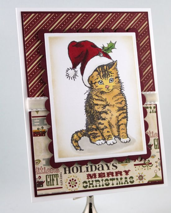 Paper Handmade Christmas Card Cat with a Santa Hat by TrioCards, $4.00