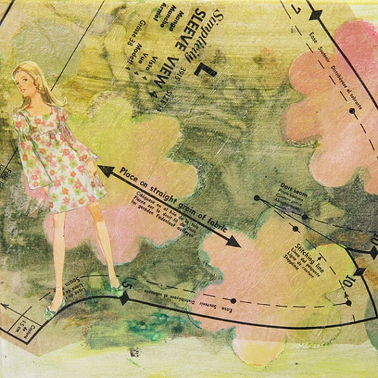 "'Flower Child' is an original mixed media painting on canvas using vintage sewing patterns to create texture and interest with a mod 1960s girl in shades of green, gold, and pink - 11x14""."