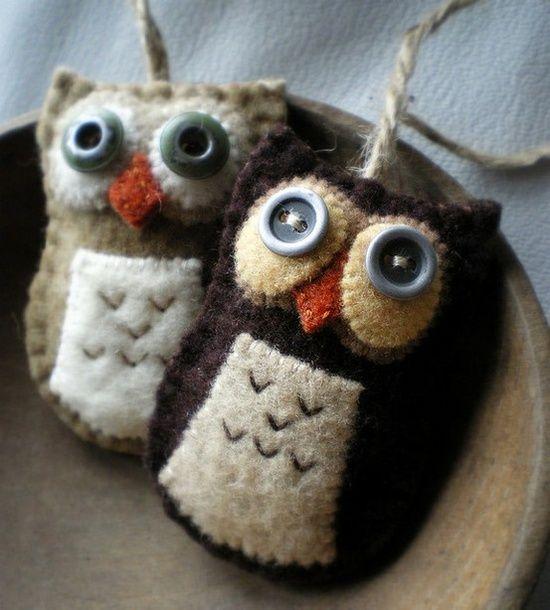Handmade felt owls - gorgeous  #lose yourself eminem #handmade barbie house #handmade furniture #do it yourself #handmade