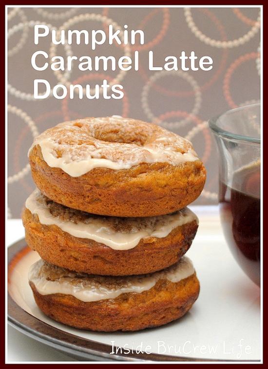 Pumpkin Caramel Latte Donuts - pumpkin donuts with caramel bits and a coffee glaze.  #pumpkin #donut  www.insidebrucrew...