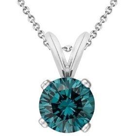 14K White Gold Round Blue Diamond Solitaire Pendant w/18 Inch Chain (1/8 ctw)