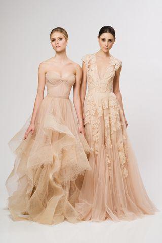 Reem Acra Resort 2013 nude  I love the idea of peach or cream wedding dresses. Basically not entirely white...
