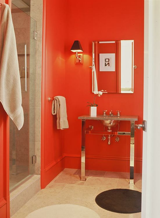 Sneak peek! October's HGTV Color of the Month. Check out this fired-up bathroom.
