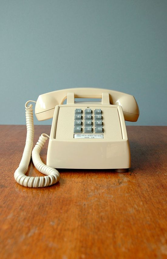 "My family growing up in the 80's had a phone like this. Now it's considered ""vintage!"" :) Vintage Cream Push Button Phone by luola  on Etsy - $35.00"