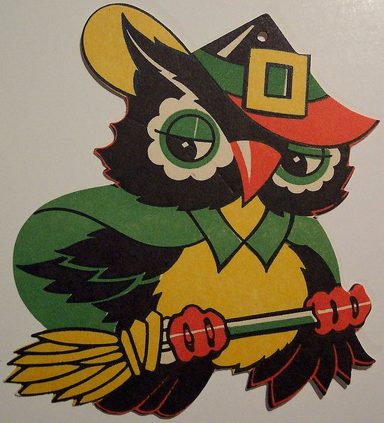 Vintage Halloween Cut Out, Owl on Broom by riptheskull, via Flickr