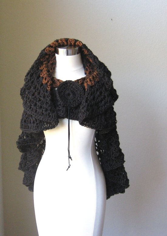 BLACK BROWN CAPELET Crochet Spring Fashion Fall by marianavail, $75.00