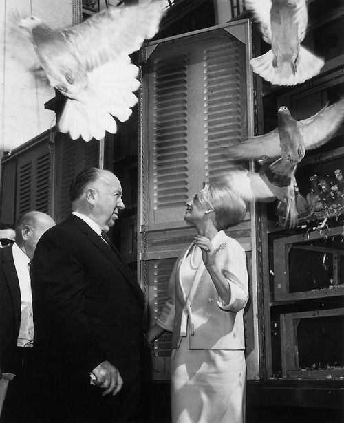 Alfred Hitchcock and Tippi Hedren on the set of The Birds (1963)