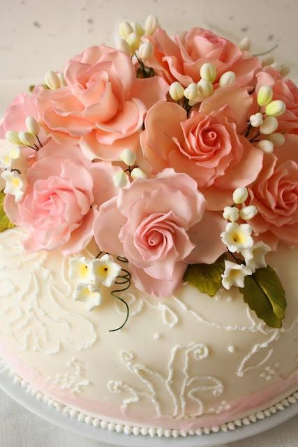 Pink roses wedding gift cake