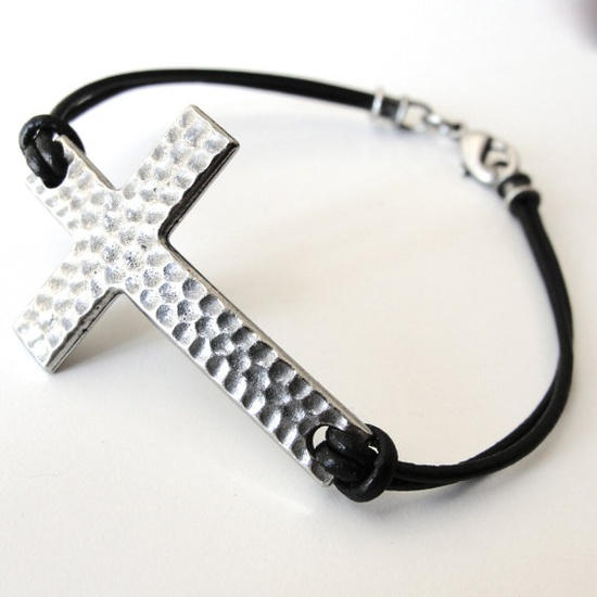 Silver Sideways Cross on Leather bracelet by JewelryByMaeBee on Etsy!