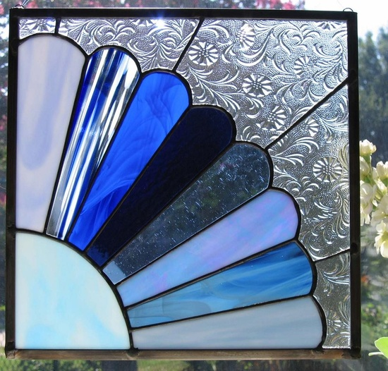 Grandmothers Fan in Blue Stained Glass Panel. $95.00, via Etsy.
