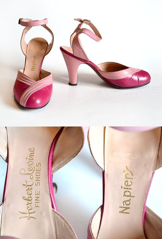 40s Shoes / 1940s Shoes  / Pink Shoes /  40s by MinxouriVintage
