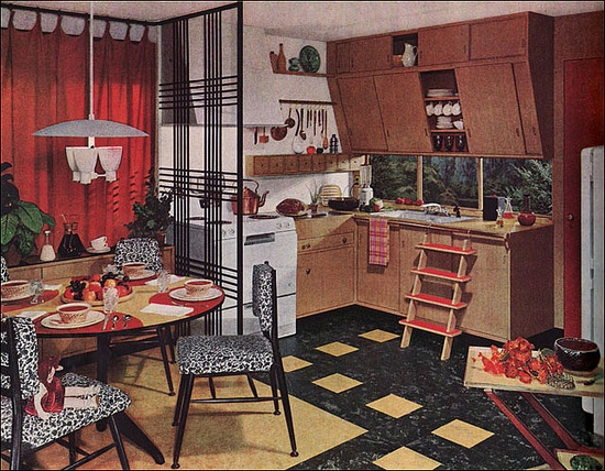 This Armstrong Kitchen ad appeared in American Home in 1952. Lots of bright red and yellow, very modern. The slanted cupboards and under cabinet windows show up regularly during the early 50s.