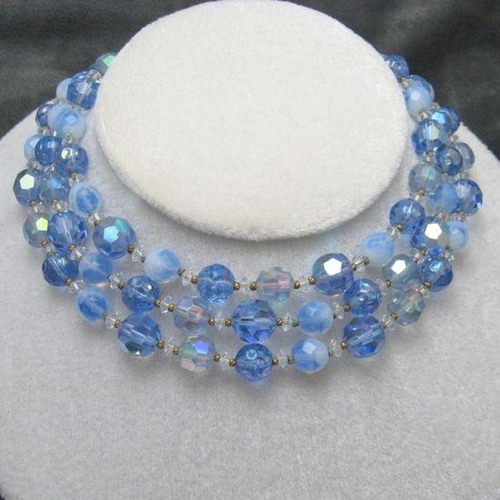 Vintage Necklace Bib Hattie Carnegie Blue by PurpleDaisyJewelry, $125.00