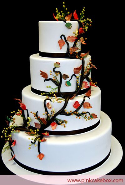 4 Tier Fall Wedding Cake by Pink Cake Box