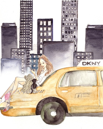 New York Taxi #art #watercolor #illustration #NYC #new #york #city #skyscrapers