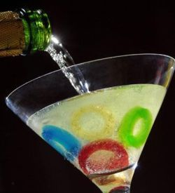 olympic rings cocktail: champagne and gummy savers!