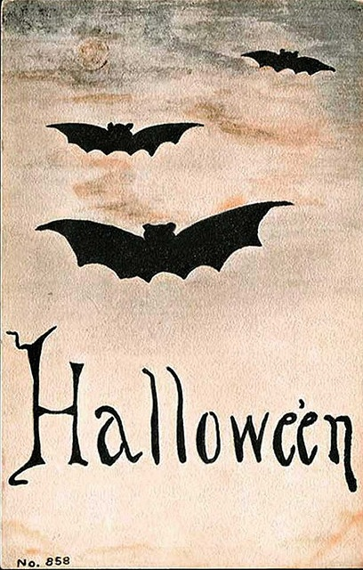 Vintage Batty Halloween Postcard