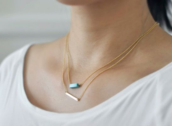 Gold Bar necklace - minimal modern line necklace - simple everyday jewelry. $28.00, via Etsy.