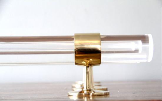 custom brass and lucite drapery rods