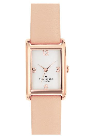 kate spade new york 'cooper' leather strap watch