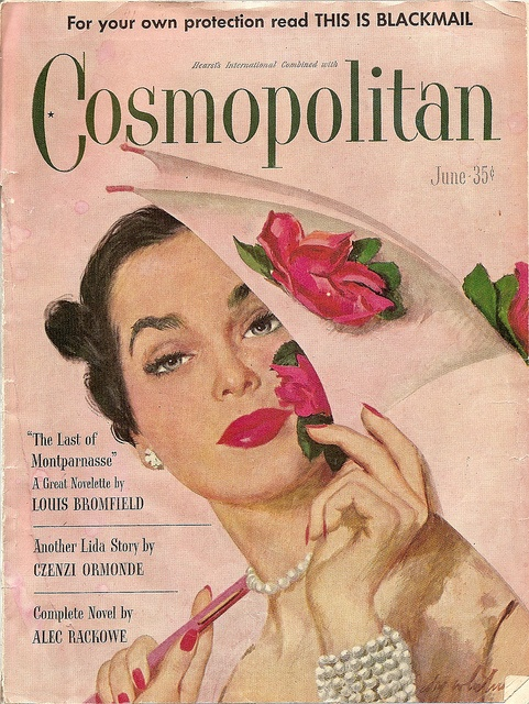 The resplendently elegant cover of Cosmo June 1948 cover (I adore the rose bedecked umbrella!). #vintage #1940s #magazine #umbrella #pearls #fashion