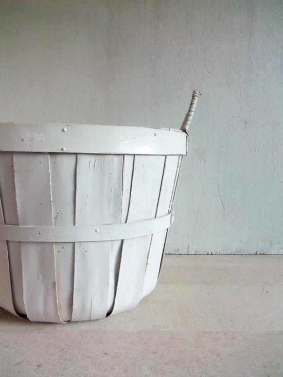 Vintage White Apple Basket.