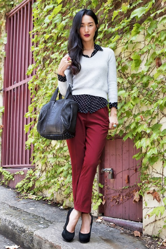 polka dots with red pants