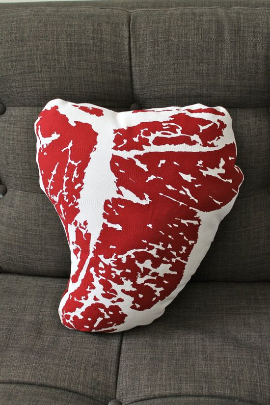 T-bone steak throw pillow