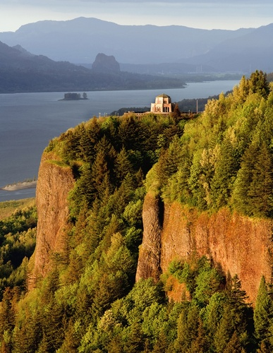 Vista House and the Columbia River Gorge.