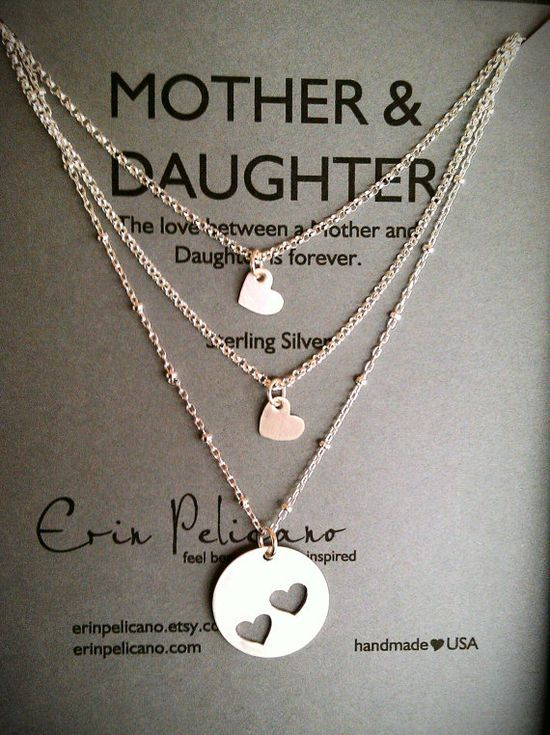 Mother Two Daughters Necklace Set // Inspirational Jewelry // Simple Delicate via Etsy