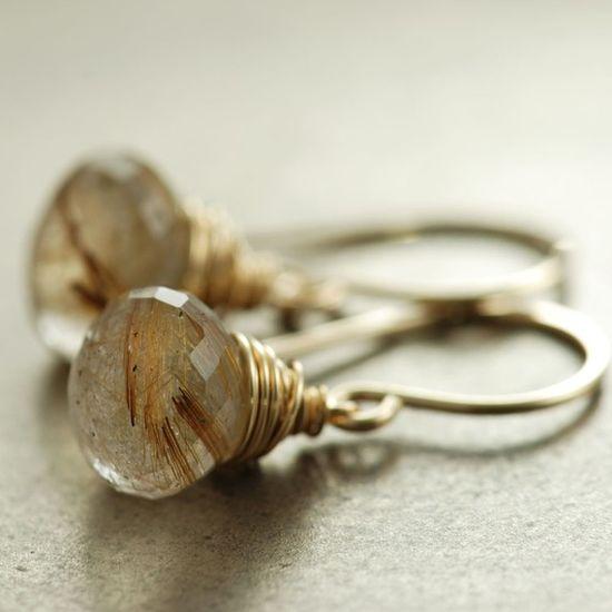 Earrings, rutilated quartz