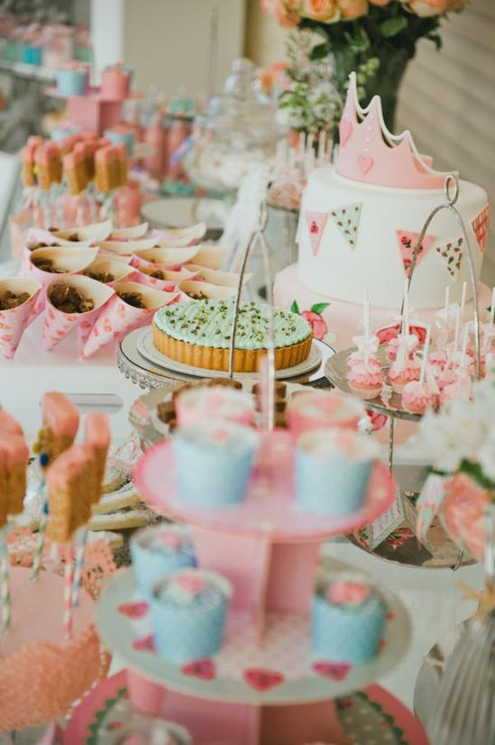 Shabby Chic Princess Party via Kara's Party Ideas karaspartyideas.com #shabby #chic #princess #birthday #party #ideas///tiara holders   i plan on doing something like this for my birthday but with mini cupcake topiaries and ice cream shaped pinata cookies