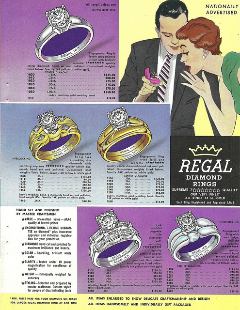 1950s page featuring Regal Diamond Rings (4 of 4). #vintage #1950s #rings #jewelry #wedding