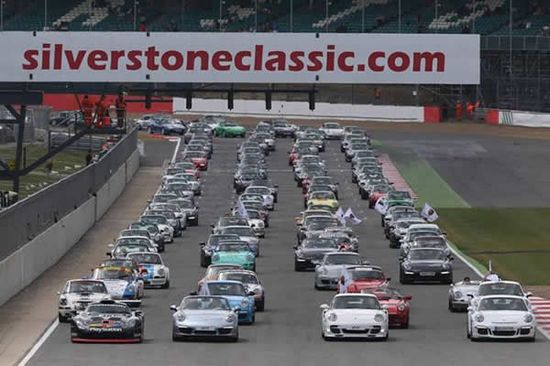 Porsche gathers over 1200 sports cars to celebrate the 911's 50th anniversary at Silverstone
