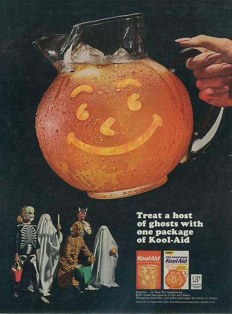 An awesomely Halloween themed twist from 1964 on the classic smiling Kool-Aid jug theme. #Kool_Aid #food #drinks #vintage #retro #Halloween #ad #kids #costumes #1960s #sixties
