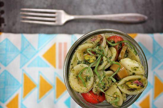 Tomato Basil Orecchietti with Pistachios