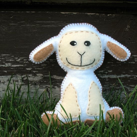 Happy Lamby Hand Sewing PATTERN - Make Your Own Hand Embroidered Plush Felt Stuffed Animal - PDF - Easy. $4.00, via Etsy.