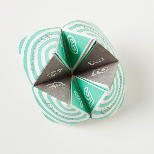 Letterpress fortune teller- this would be super cute at a wedding! #wedding #favors #guests $8 on Etsy