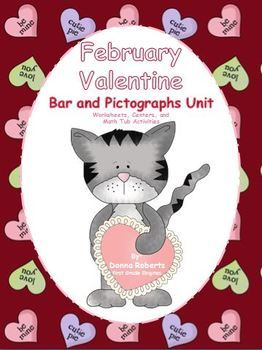 February Valentine Bar and Pictographs Unit Worksheets and centers $