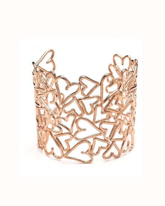Rose Gold Heart Lace Cuff Bracelet #jewelry #women #hearts #love #cuff #ladies #bracelet