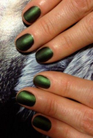 matte metallic dark green nails #polish