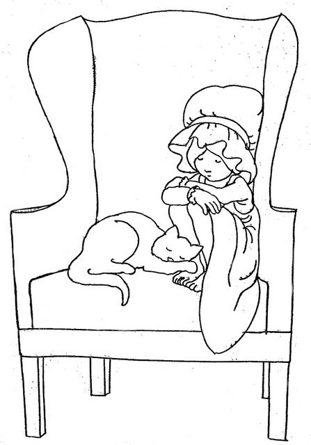 Girl and Cat Sleeping in Chair by