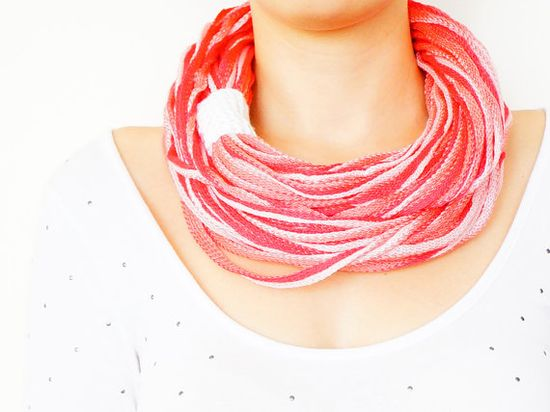 FREE SHIPPING // Handmade Red Pink White Infinity by Sudrishta, $25.00