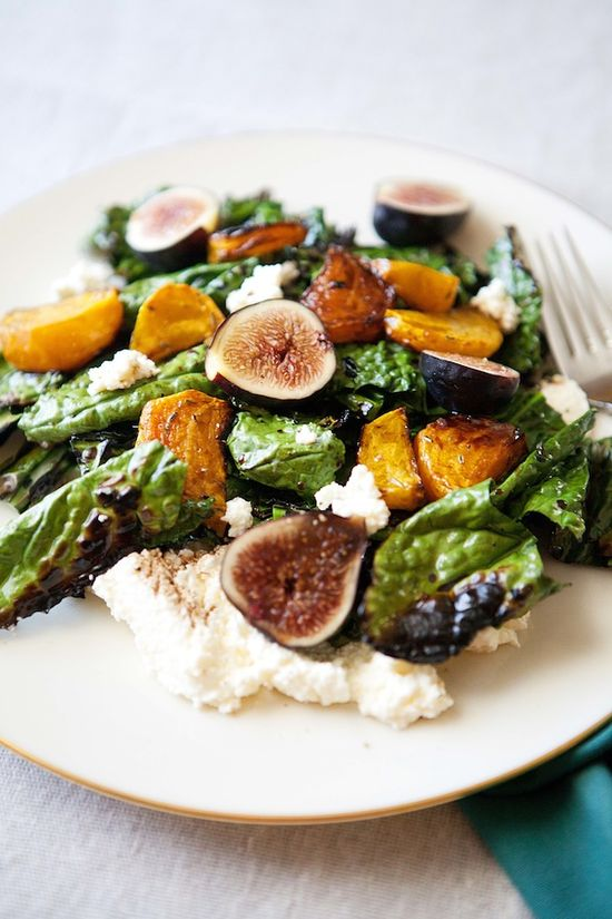 grilled kale salad with beets, figs & ricotta